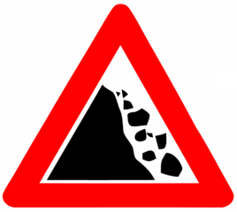 Road  sign: falling rocks
