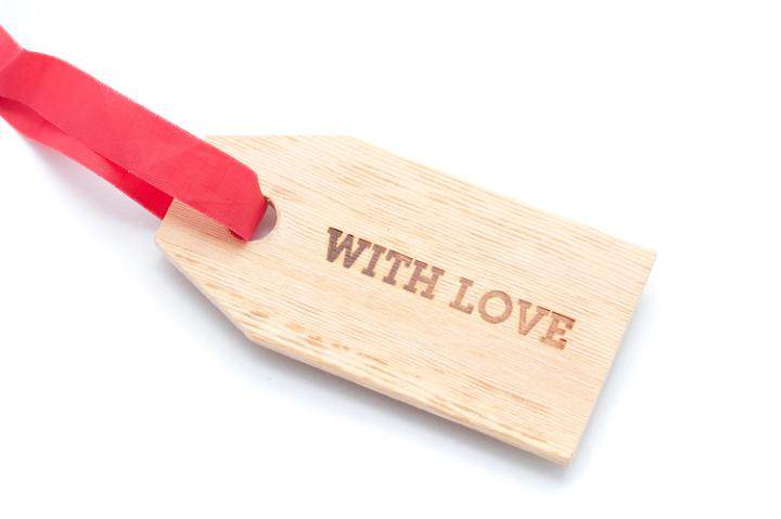 a gift tag inscribed 'with love'
